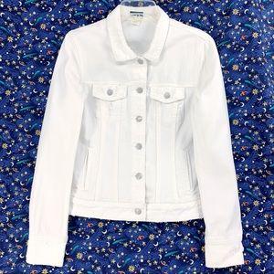 J. Crew Distressed White Jean Jacket 100% Cotton